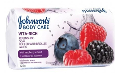 Мило JOHNSON'S<sup>®</sup> Body Care Vita Rich Відновлююче з екстрактом малини (з ароматом лісових ягід)