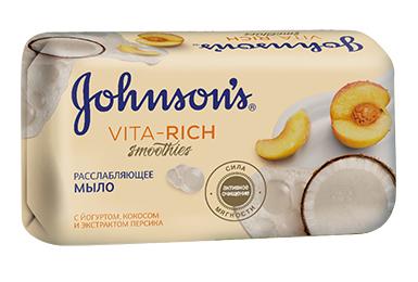 JOHNSON'S<sup>®</sup> Vita-Rich СМУЗІ Розслаблююче мило з йогуртом, кокосом і екстрактом персика