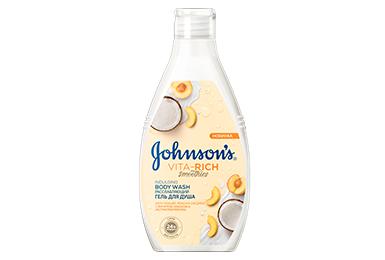JOHNSON'S<sup>®</sup> VITA-RICH СМУЗІ Розслаблюючий гель для душу з йогуртом, кокосом та екстрактом персика 250 мл